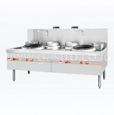 FLAME MATE Gas Chinese Wok Range 2 Ring 2 Soup Pot ECR-2-GF-E-L