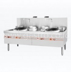 FLAME MATE Gas Chinese Wok Range 2 Ring 2 Soup Pot - Slim Type ECR-2-NF-E-L